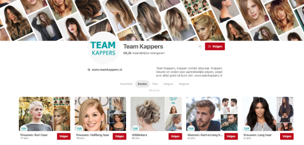 Team Kappers Pinterest screenshot